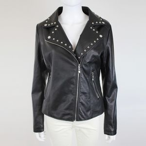 Closet Space Jackets & Coats - Closet Space Embroidered Black Studded Moto Jacket